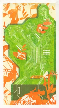 """Deciduous Circuitry"" Lasercut Woodblock & Collage"