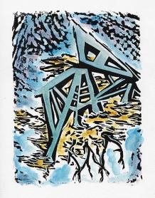 """Elemental Footing"" Linocut with Watercolor"