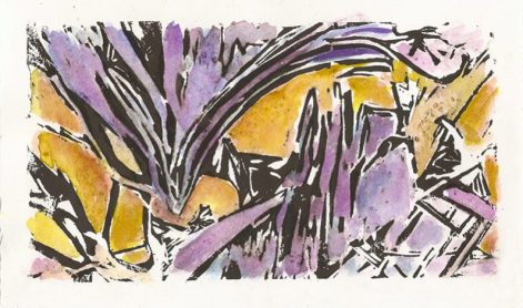 """""""Foundations"""" Linocut with Watercolor"""