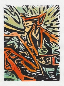 """""""Growth"""" Linocut with Water"""