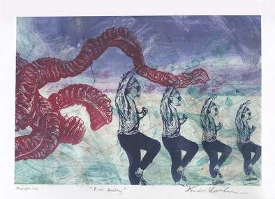 """""""Run Away,"""" Lithograph on top of an Intaglio Collagraph"""