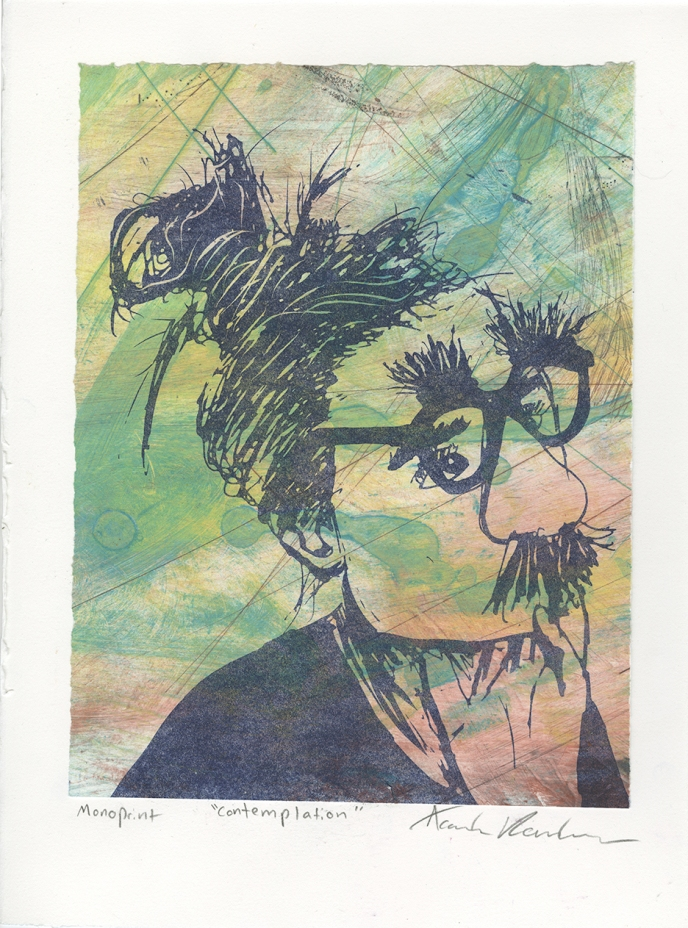 """""""Contemplation,"""" Lithograph on top of an Intaglio Collagraph"""