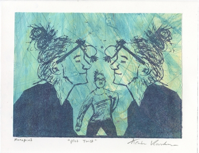 """""""Plot Twist,"""" Lithograph on top of an Intaglio Collagraph"""
