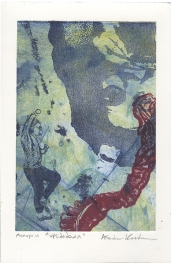 """""""Upsidedown,"""" Lithograph on top of an Intaglio Collagraph"""