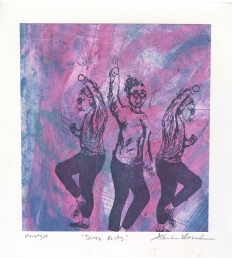 """Dance Party,"" Lithograph on top of an Intaglio Collagraph"