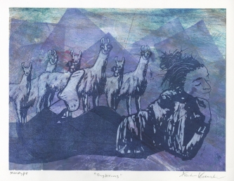 """""""Daydreams,"""" Lithograph on top of an Intaglio Collagraph with Color Pencil"""