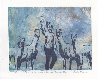 """""""My Llama is Smarter than Your Honor Role Student,"""" Lithograph on top of an Intaglio Collagraph"""